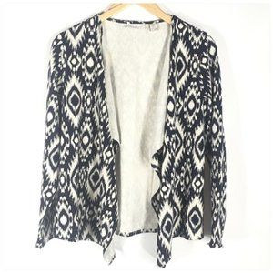 Chico's Ikat Navy Blue Open Front Cardigan
